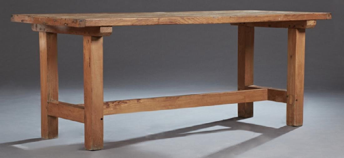 French Provincial Carved Oak Farmhouse Table, late 19th