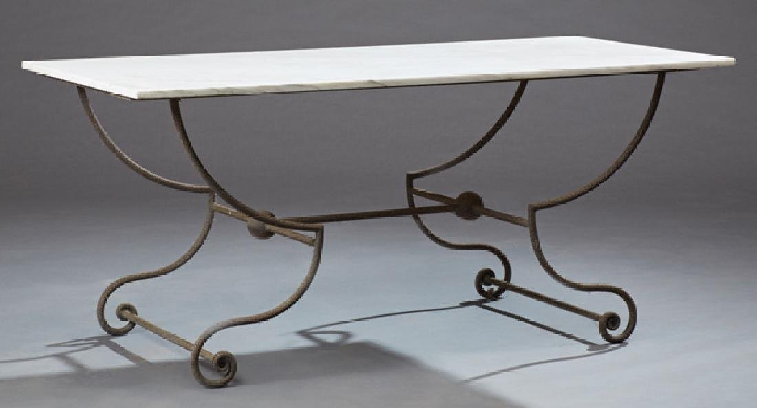 French Cast Iron Marble Top Baker's Table, 19th c., the