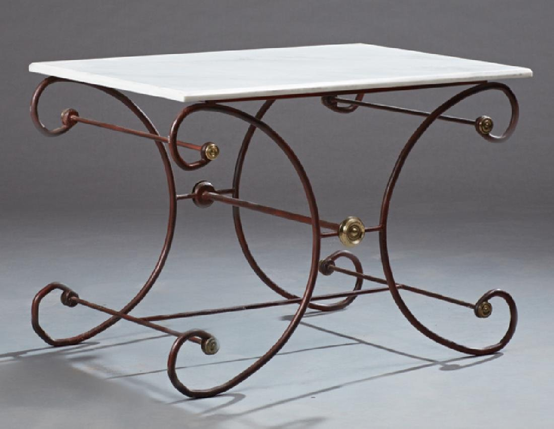 French Painted Brass Mounted Cast Iron Marble Top