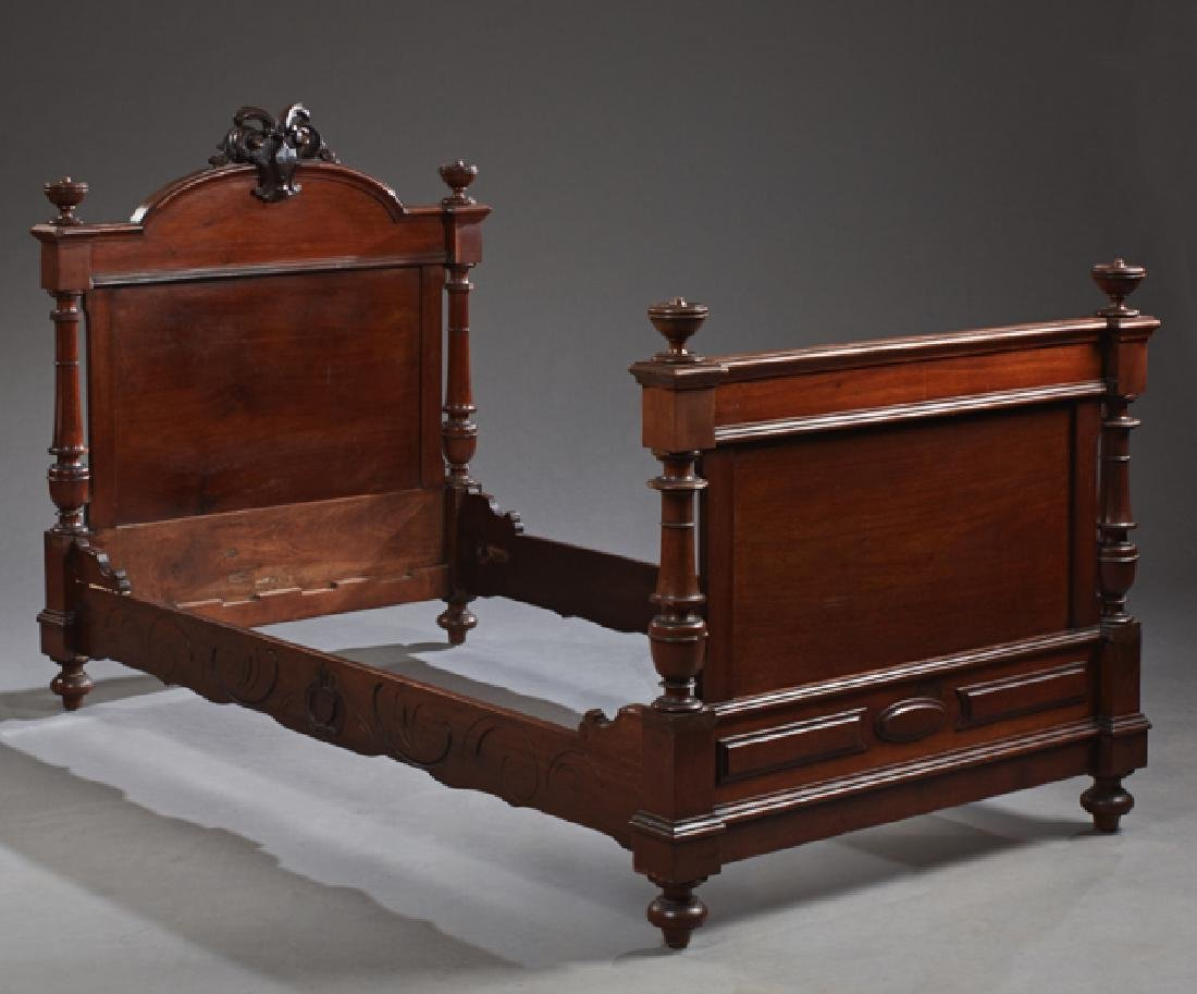 French Carved Mahogany Single Bed, late 19th c., the
