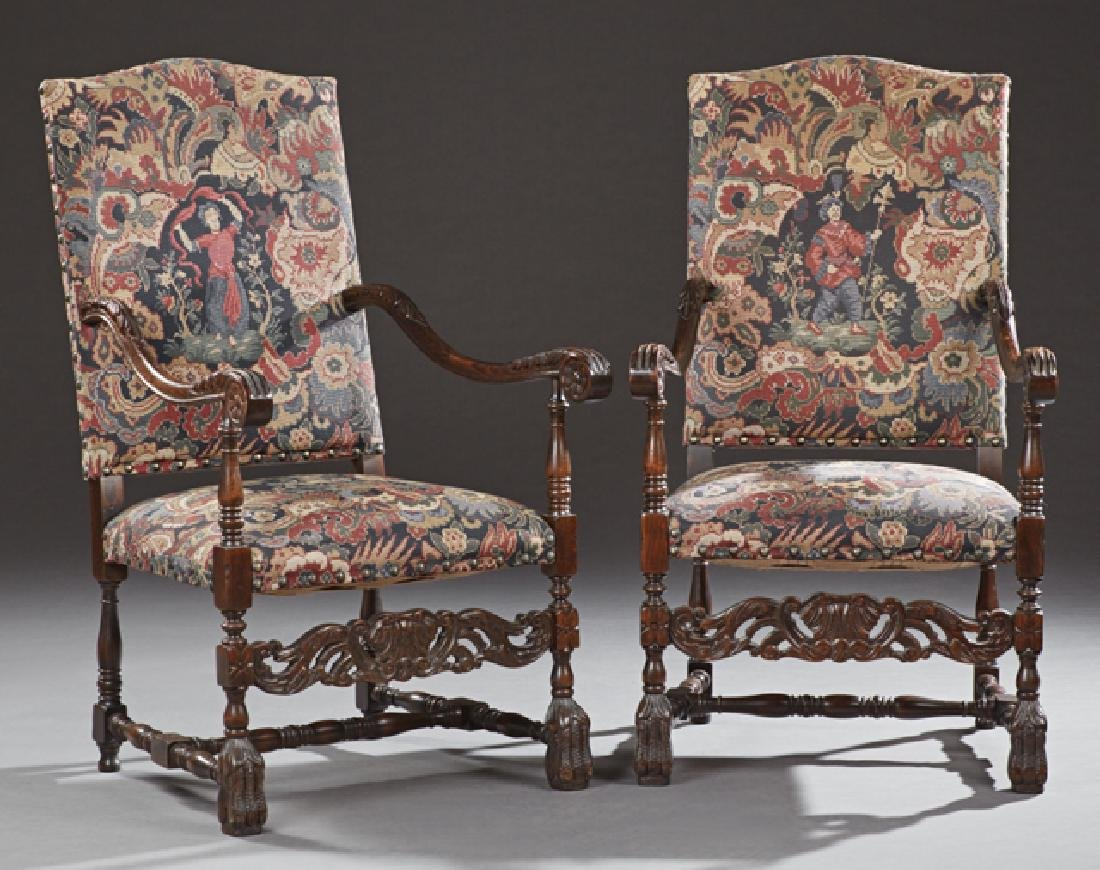 Pair of French Carved Beech Fauteuils a la Reine, early