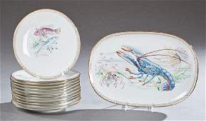 French Porcelain Thirteen Piece Seafood Set, 20th c.,