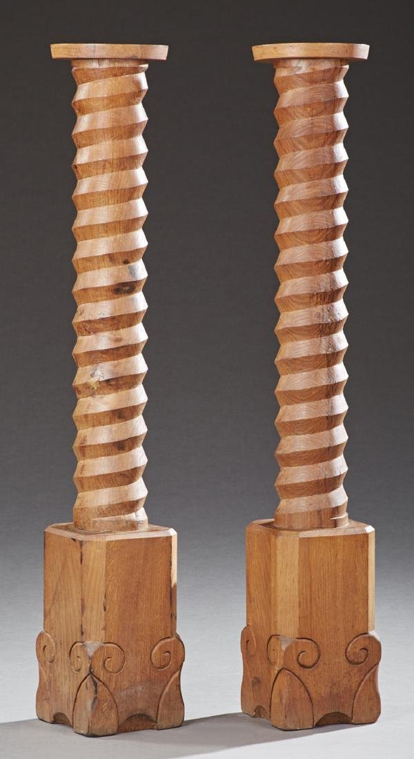 Pair of Carved Oak Pedestals, c. 1900, constructed from