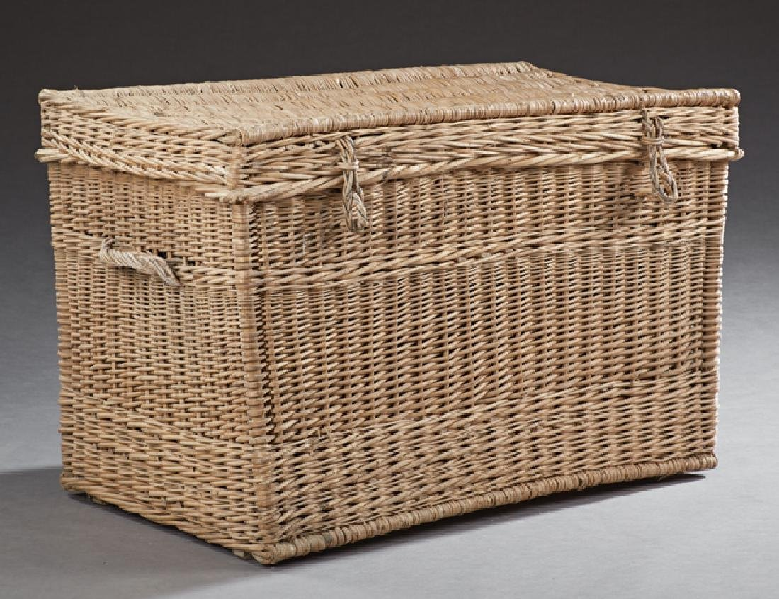 Large French Woven Wicker Hamper, early 20th c., the