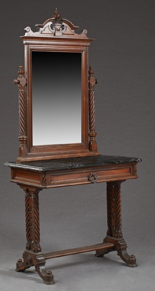 English Carved Mahogany Marble Top Dressing Table, late