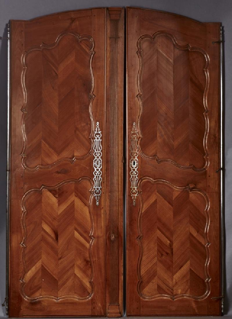Pair of French Carved Walnut Armoire Doors, c. 1840,