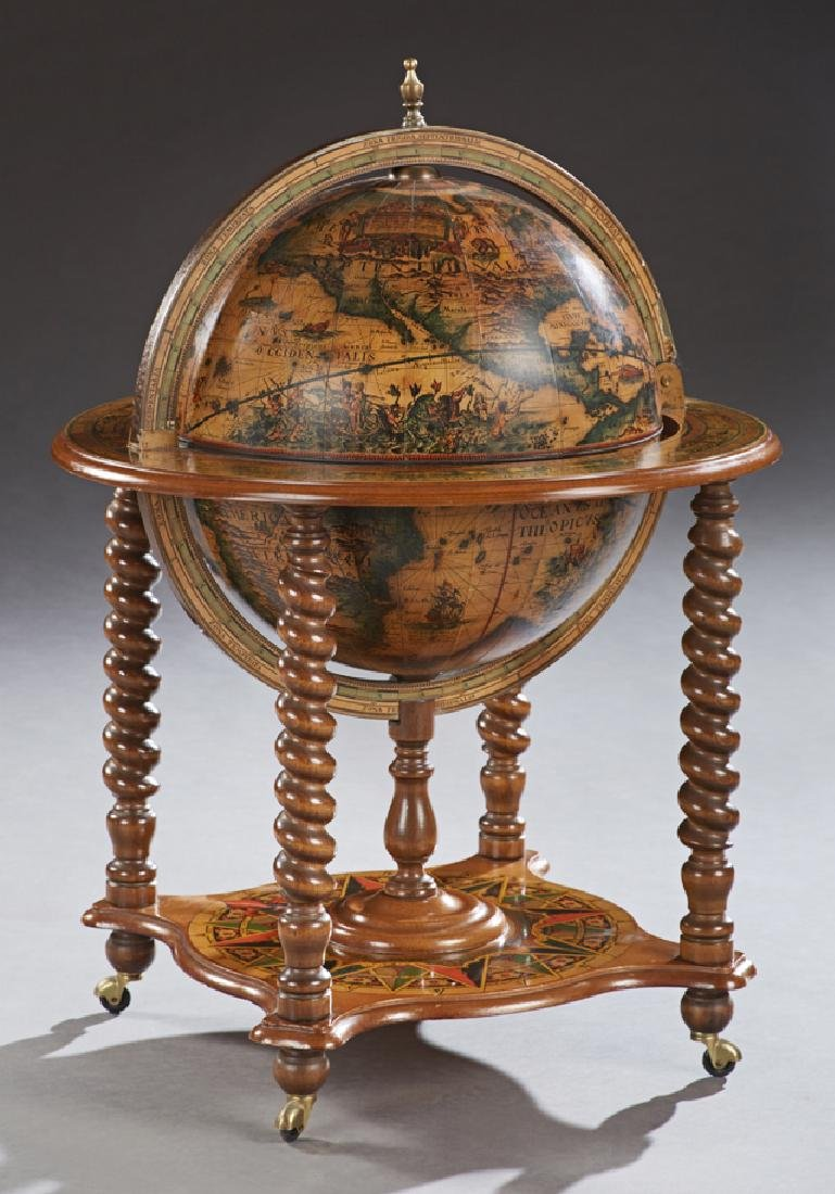 Beech World Globe Bar, 20th c., with antique map