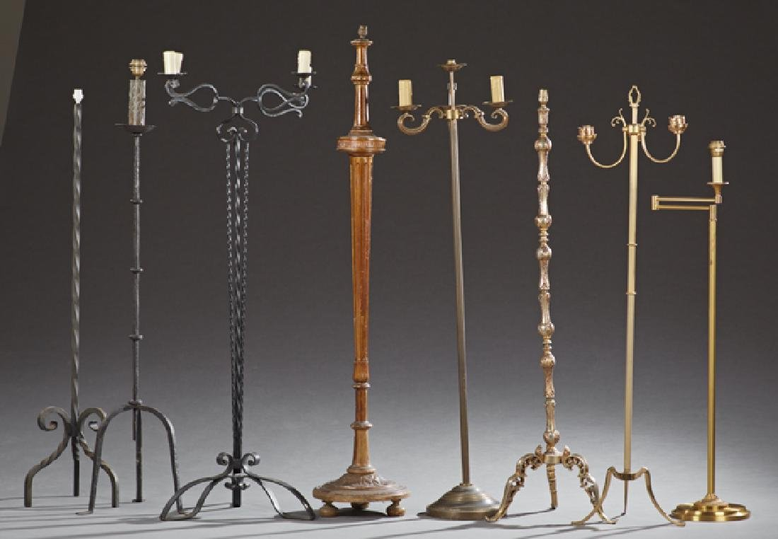 Group of Eight French Floor Lamps, 20th c., consisting