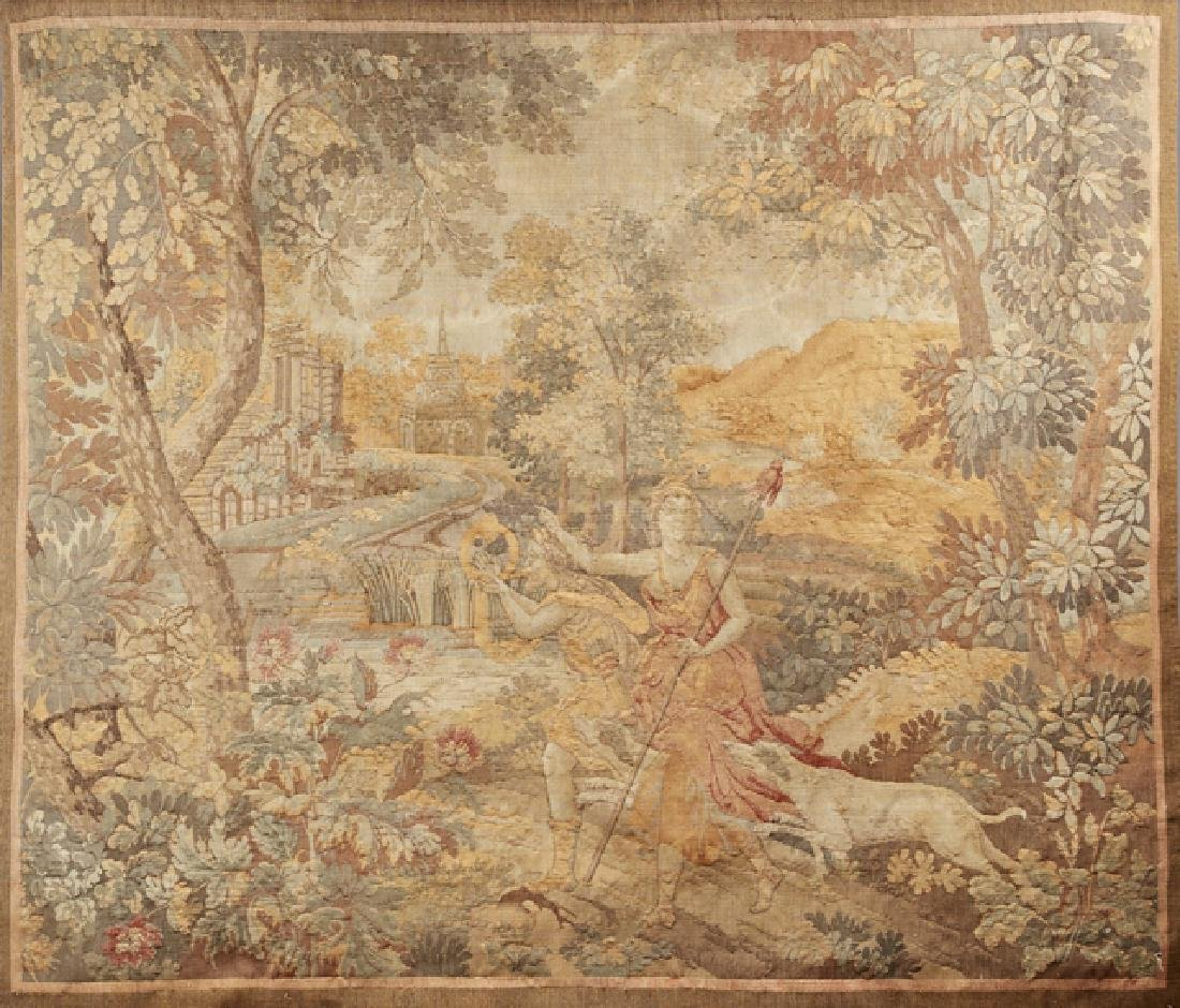 French Tapestry, 20th c., of classical figures in a