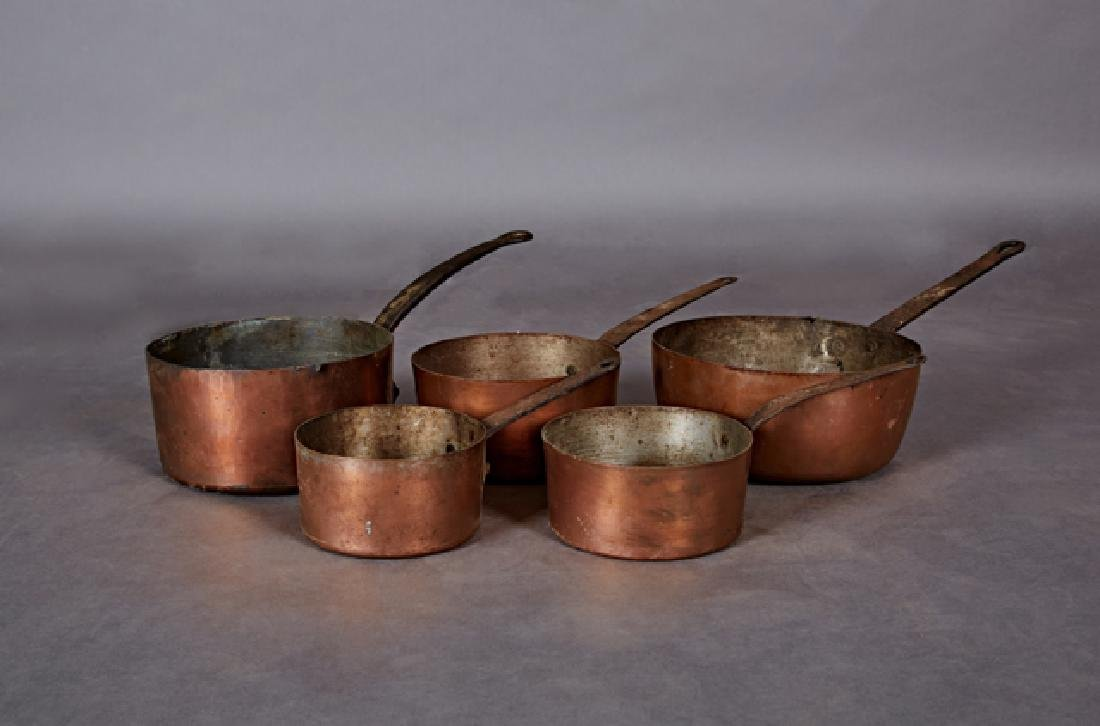 Group of Five French Graduated Copper Sauce Pans, early