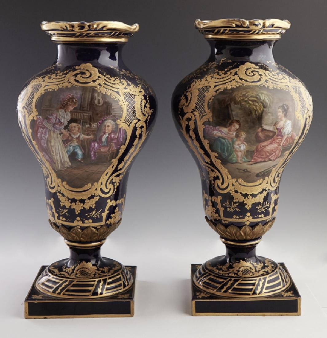 Pair of Sevres Style Painted Ormolu Mounted Cobalt