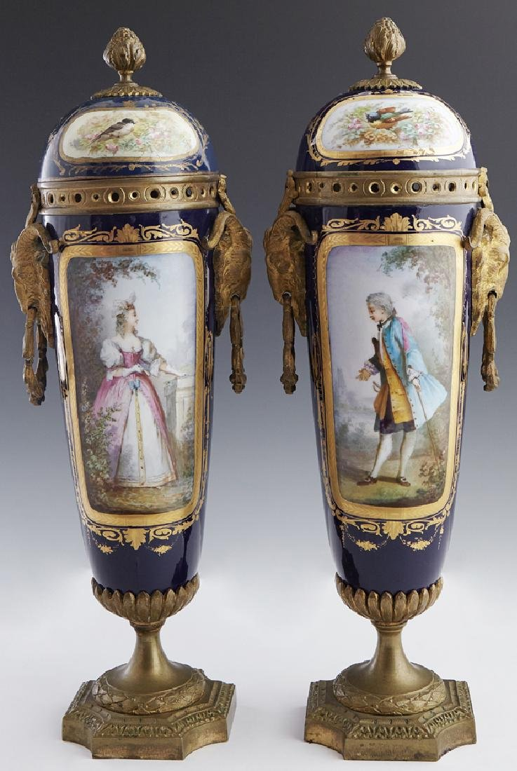 Pair of French Sevres Gilt Bronze Mounted Cobalt