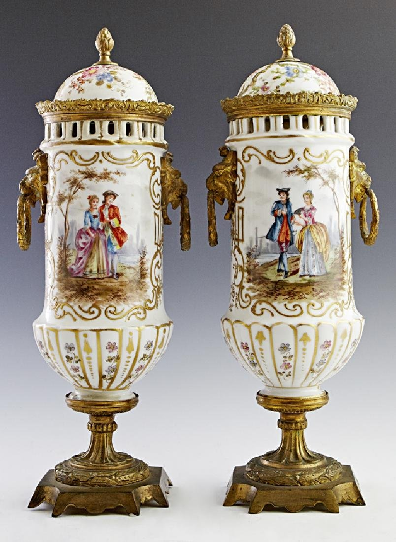 Pair of French Porcelain Gilt Bronze Mounted Covered