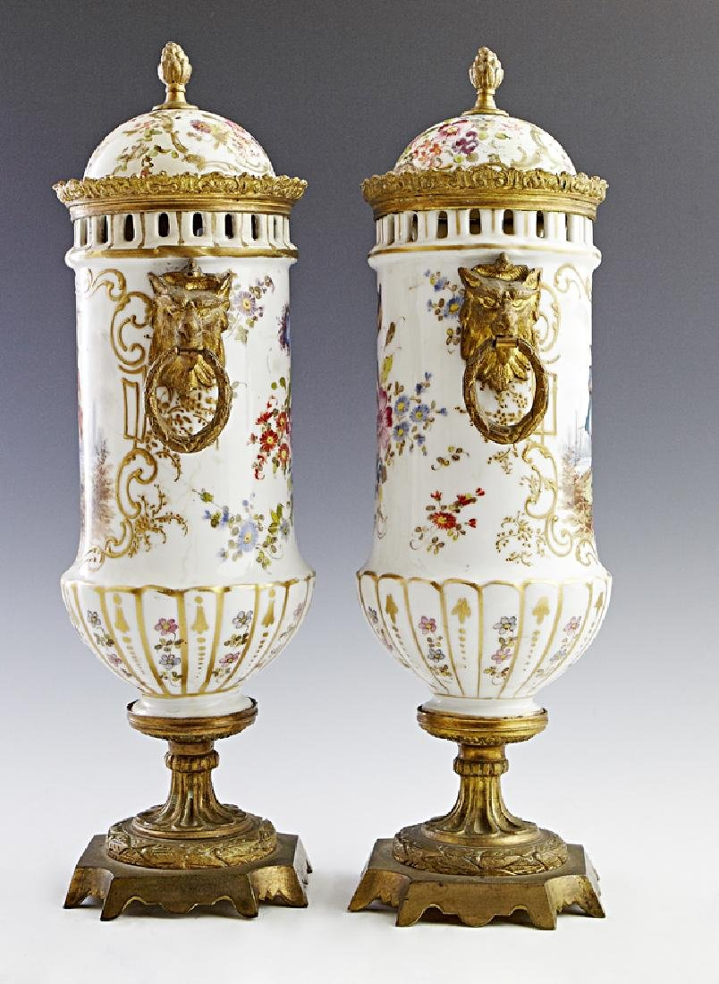 Pair of French Porcelain Gilt Bronze Mounted Covered - 2