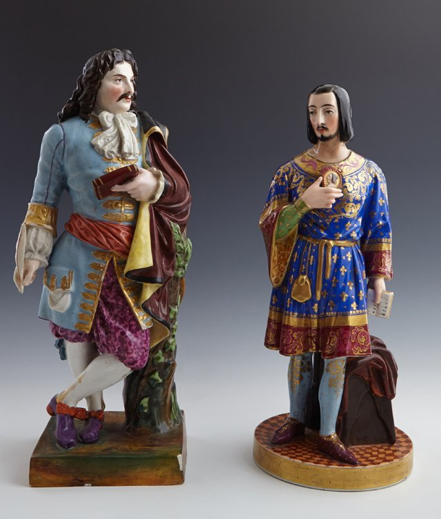 Two Old Paris Porcelain Room Scenters, 19th c., modeled