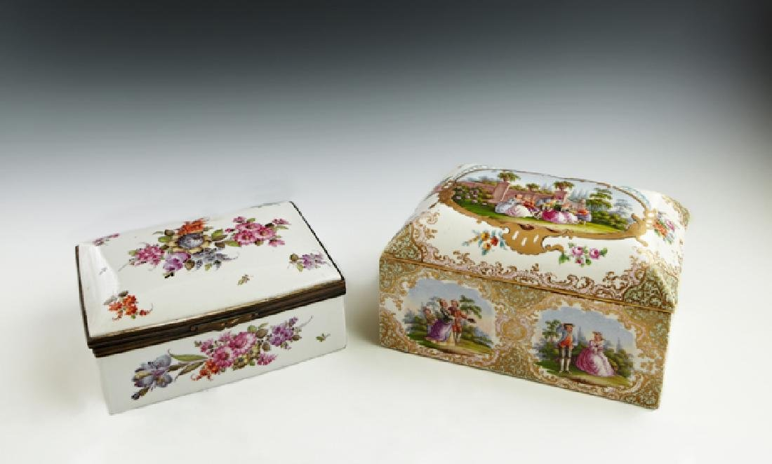 Two Painted Porcelain Dresser Boxes, late 19th c.,