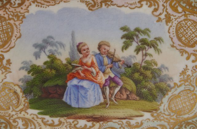 Two Painted Porcelain Dresser Boxes, late 19th c., - 4