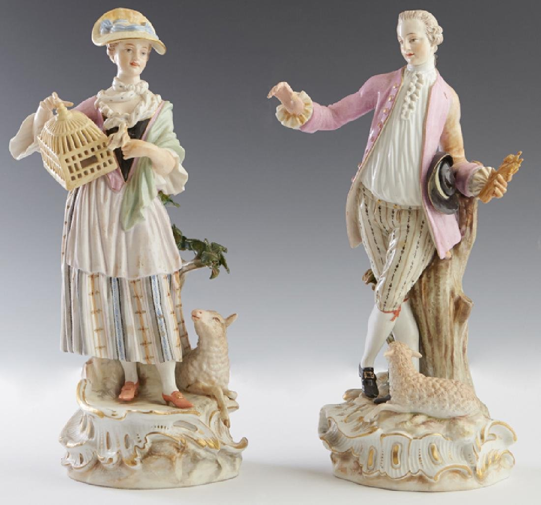Pair of Finely Painted Meissen Porcelain Figures, 19th