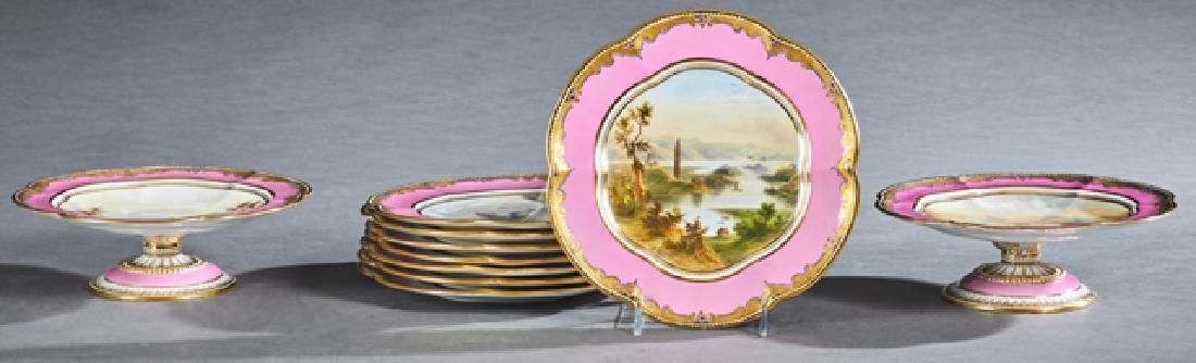 Ten Piece Salopian Coalport Dessert Service, 19th c.,