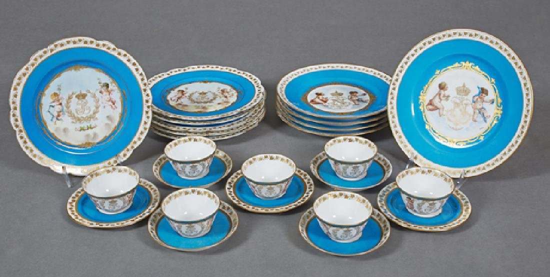 Group of Twenty-Five Sevres Style Porcelain Pieces, c.