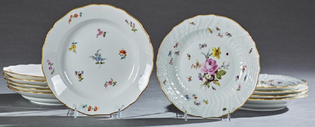 Set of Eleven Meissen Porcelain Soup Bowls, 19th c.,