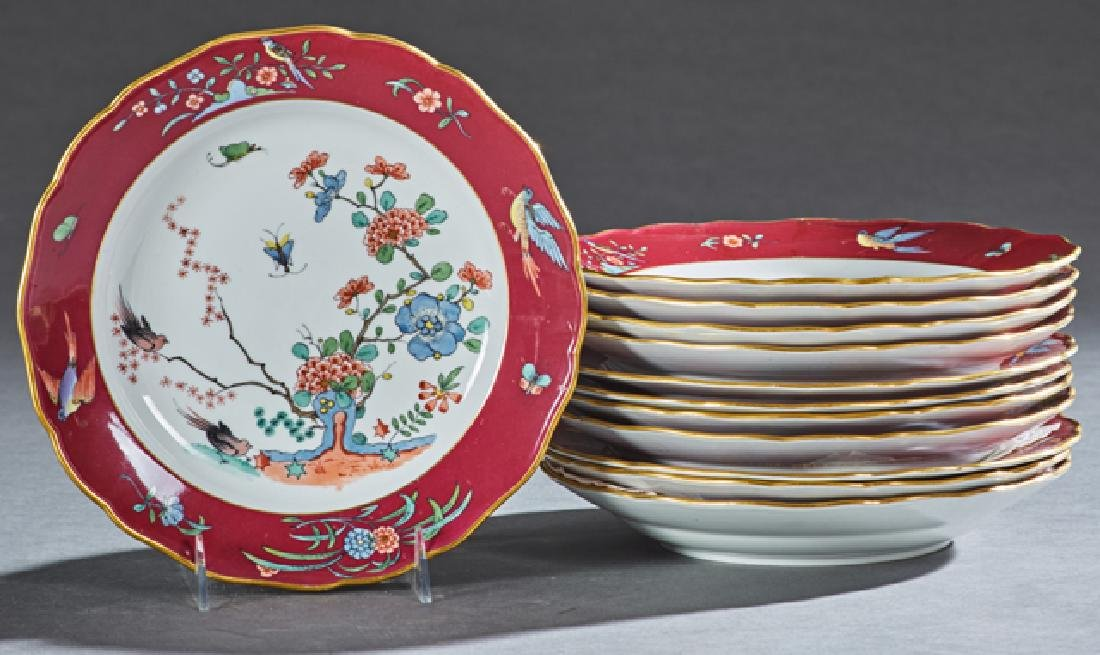 Set of Eleven Japanese Style Meissen Plates, 19th c.,