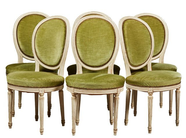 Set of Six Louis XVI Style Polychromed Beech Dining