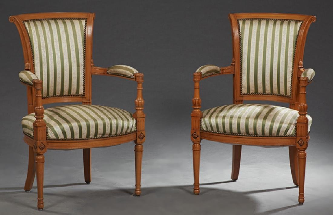 Pair of French Directoire Style Carved Cherry