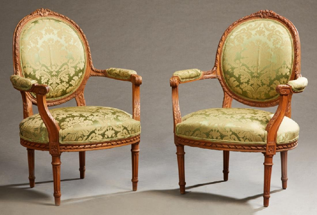Pair of French Louis XVI Style Upholstered Beech