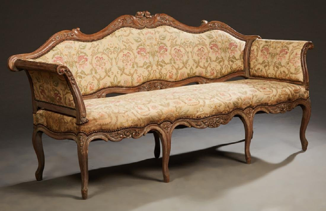 French Louis XV Style Carved Walnut Settee, 19th c.,