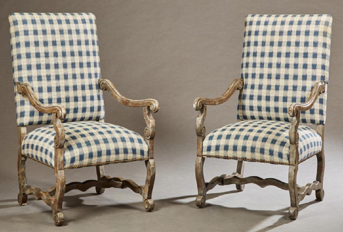 Pair of French Louis XIII Style Polychromed Armchairs,