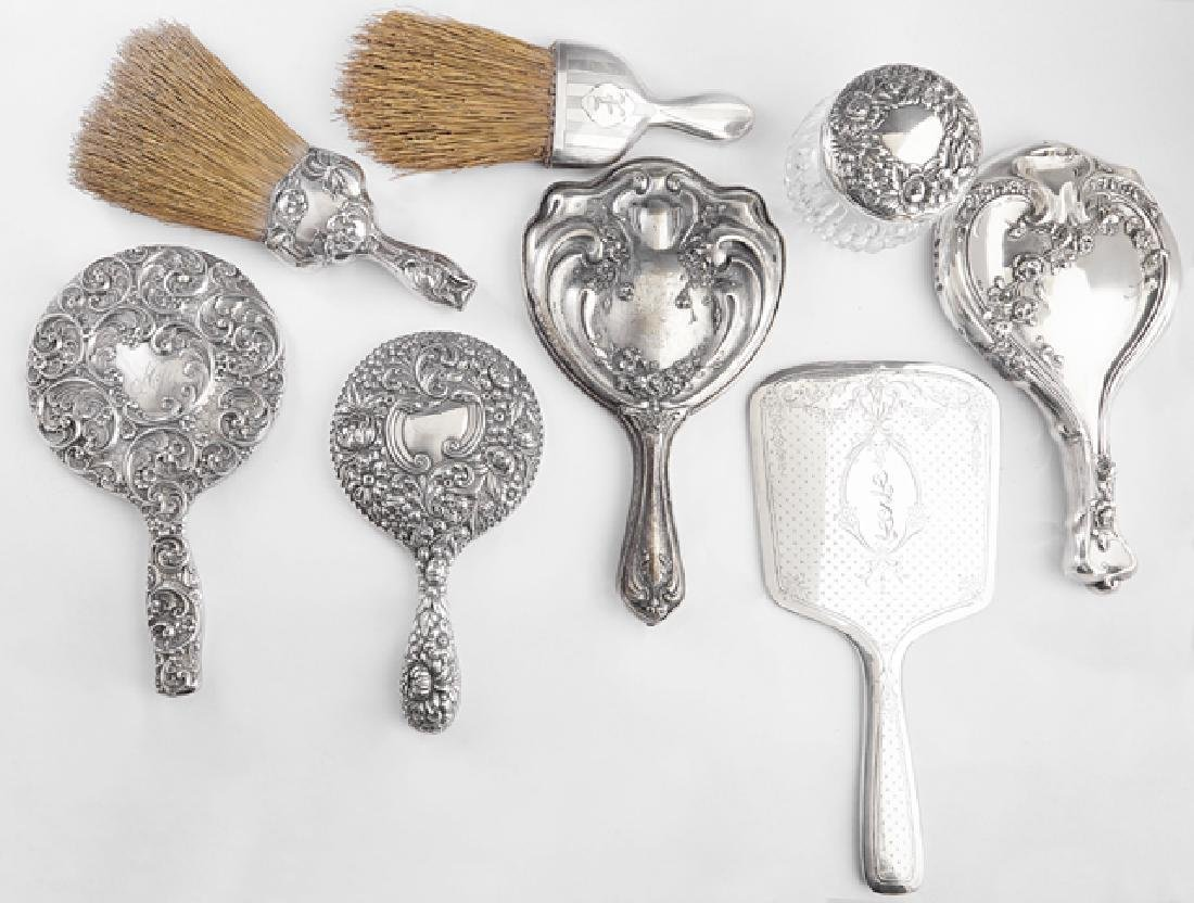 Group of Eight Sterling Dresser Pieces, early 20th c.,