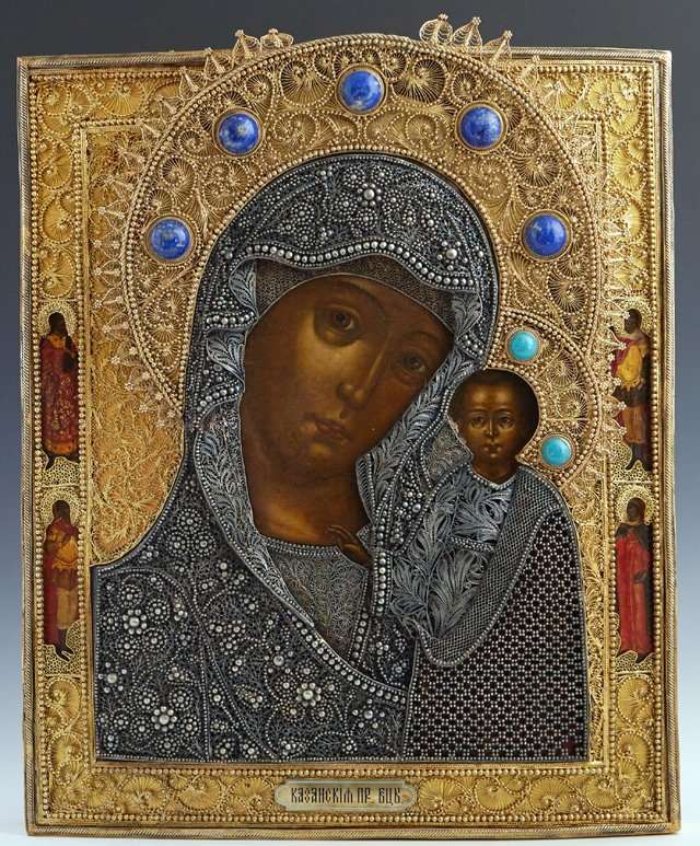 Russian Icon of the Virgin of Kazan, Moscow, 1856, with
