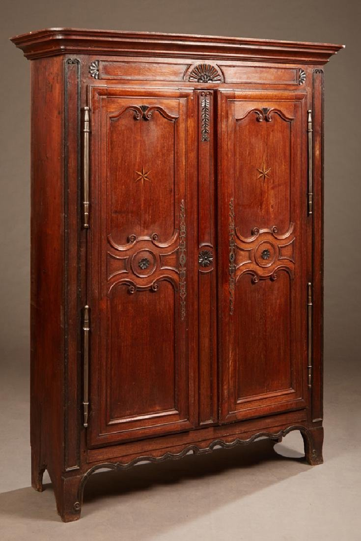 French Louis XV Style Inlaid Carved Oak Armoire, 18th