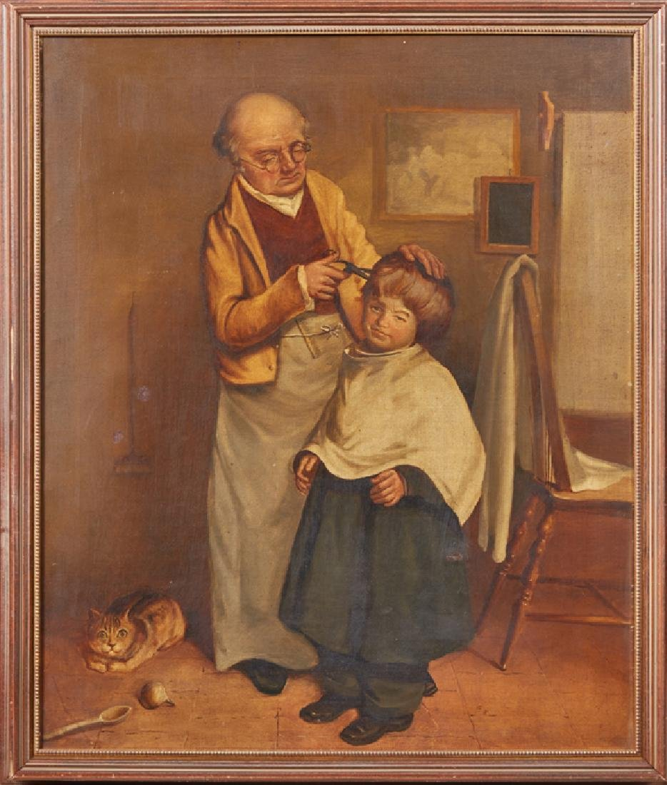 """English School, """"The Barber,"""" 19th c., oil on canvas,"""