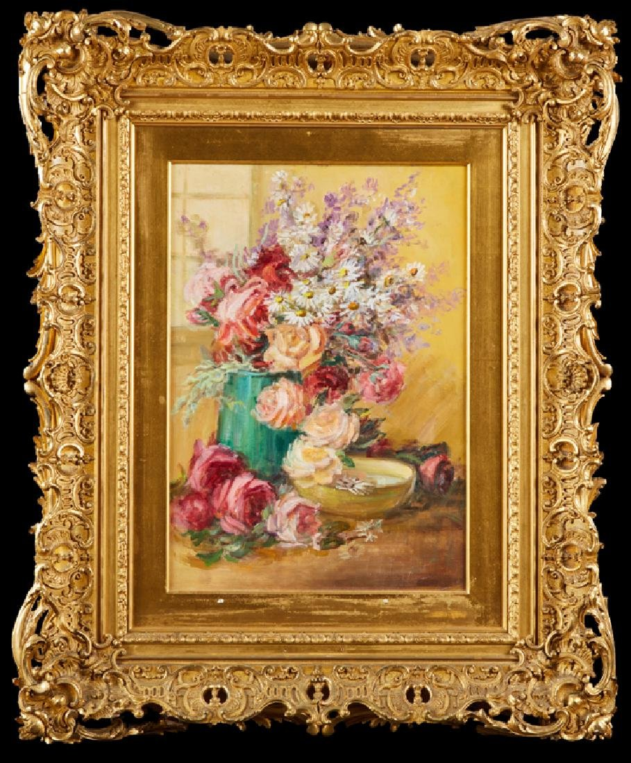 """American School, """"Still Life of Flowers on a Table,"""""""