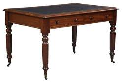 English Edwardian Carved Mahogany Writing Table, c.