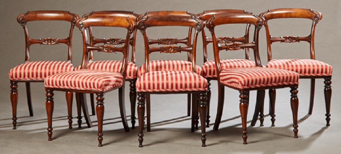 Set of Eight English Victorian Carved Rosewood Dining