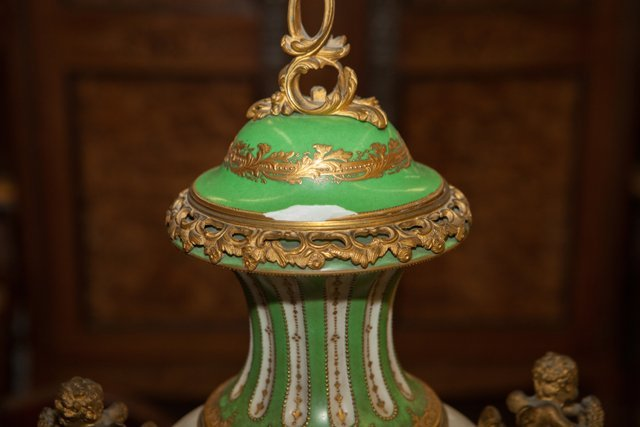 French Gilt Bronze Ormolu Mounted Sevres Style Covered - 3
