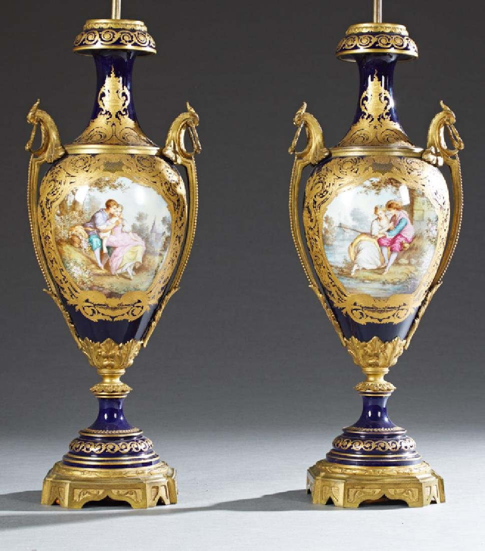 Exceptional Pair of Bronze Ormolu Mounted Cobalt Sevres
