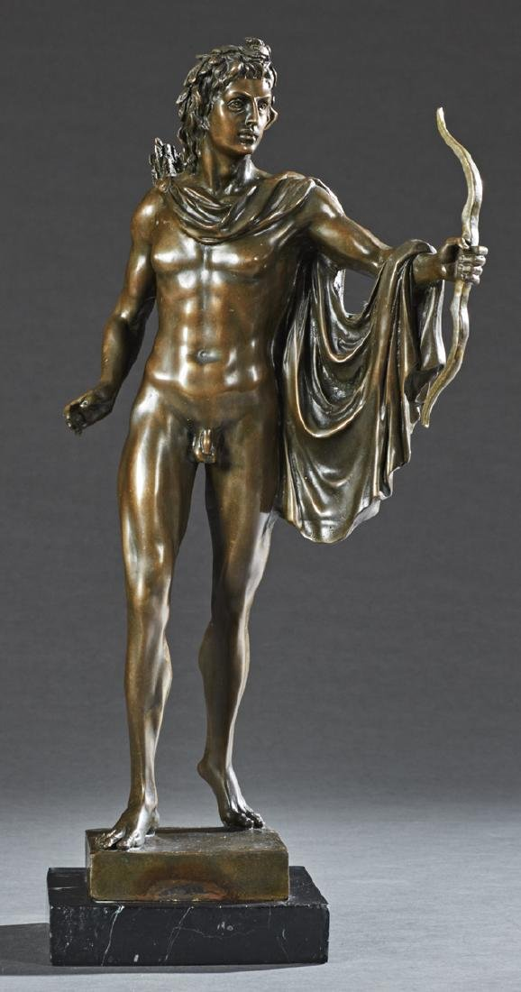 Continental Patinated Bronze Figure of an Archer, 19th