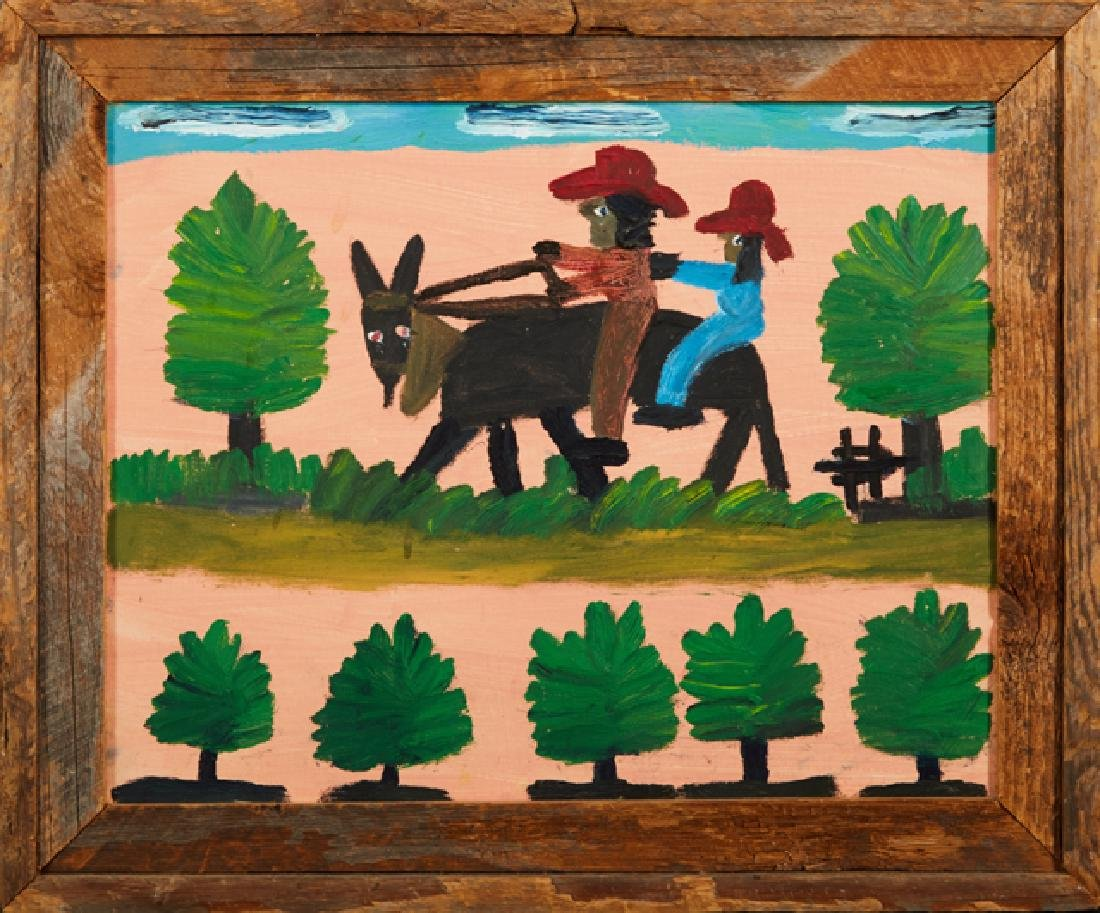 """Clementine Hunter (1887-1988), """"Traveling by Mule,"""" ca."""