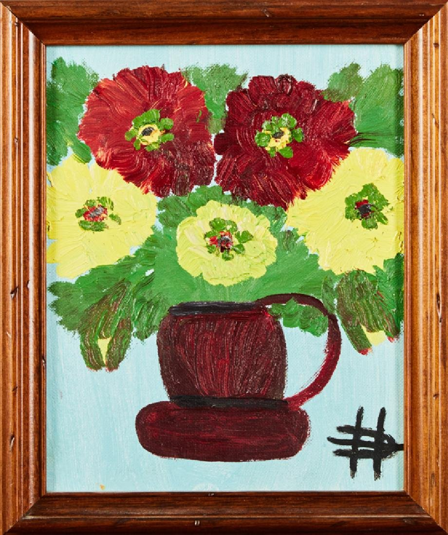 """Clementine Hunter (1887-1988), """"Zinnias in a Brown"""