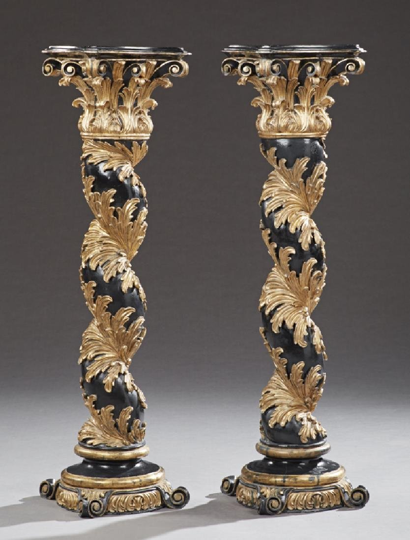 Pair of Aesthetic Style Gilt and Ebonized Pedestals, 20