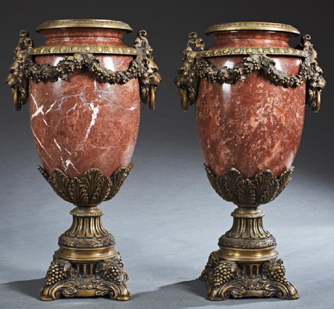 Pair of Bronze Ormolu Mounted Red Marble Urns, 20th c.,
