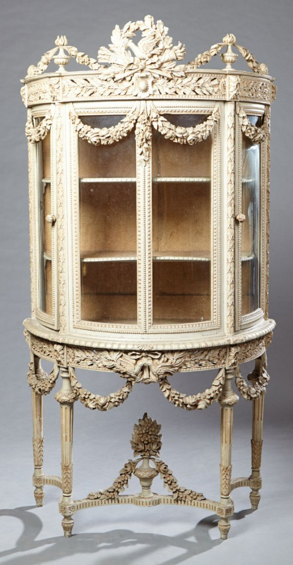 French Louis XVI Style Polychromed Curved Glass
