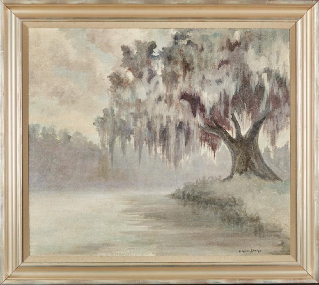 """H. Alvin Sharpe (1910-1982, Louisiana), """"Bayou Scene"""
