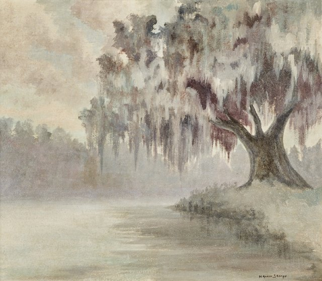 """H. Alvin Sharpe (1910-1982, Louisiana), """"Bayou Scene - 2"""