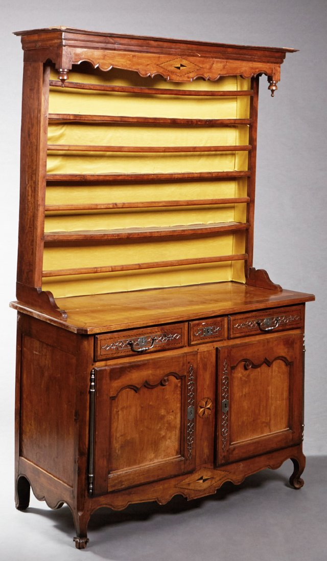 French Louis XV Style Carved Inlaid Cherry Vaisselier,