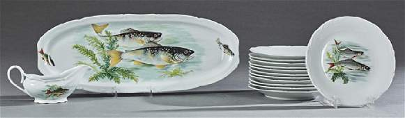 Twenty Piece French Porcelain Fish Set, 20th c.,